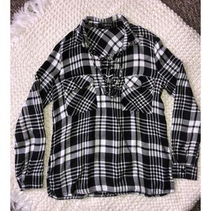 tie up black & white style flannel top